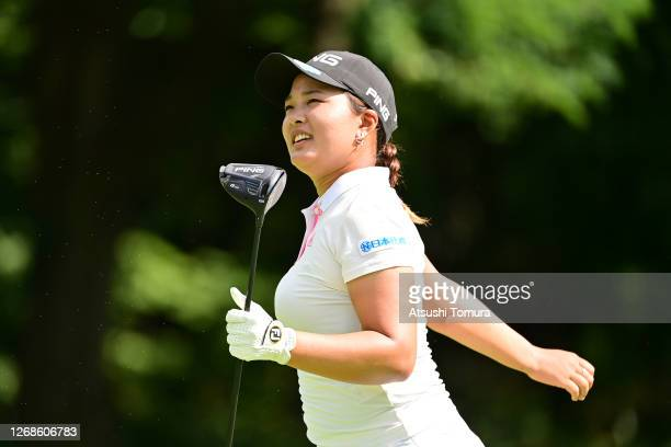 Ai Suzuki of Japan is seen on the 3rd hole during a practice round ahead of the Nitori Ladies Golf Tournament at the Otaru Country Club on August 26...