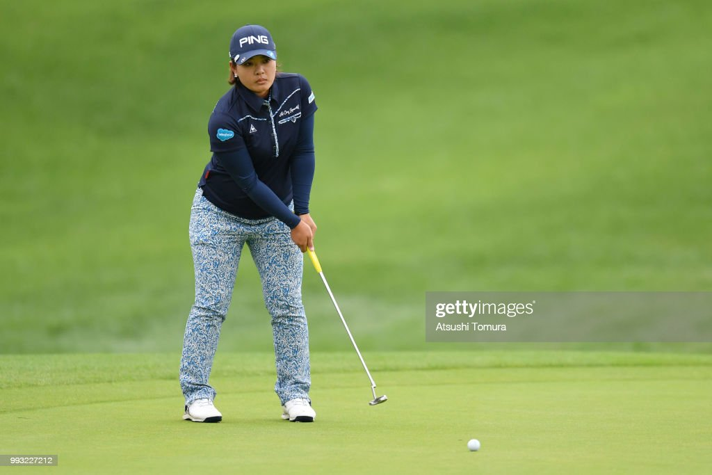 Ai Suzuki of Japan lines up her putt on the 10th hole during the second round of the Nipponham Ladies Classic at the Ambix Hakodate Club on July 7, 2018 in Hokuto, Hokkaido, Japan.