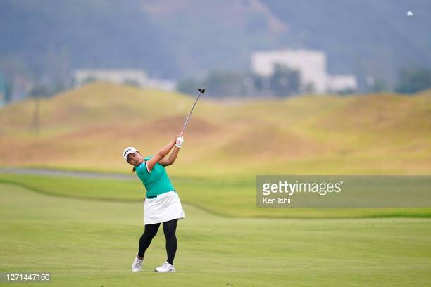 Ai Suzuki of Japan plays a shot on the 11th hole during the practice round ahead of the JLPGA Championship Konica Minolta Cup at the JFE Setonaikai...