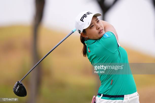 Ai Suzuki of Japan plays a shot on the 12th hole during the practice round ahead of the JLPGA Championship Konica Minolta Cup at the JFE Setonaikai...