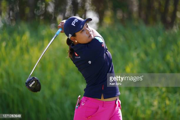 Ai Suzuki of Japan plays a shot on the 2nd hole during the practice round ahead of the JLPGA Championship Konica Minolta Cup at the JFE Setonaikai...
