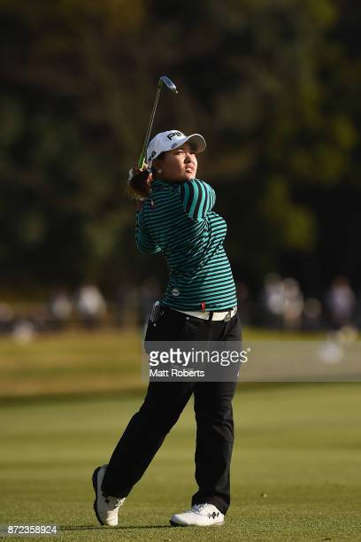 Ai Suzuki of Japan plays her approach shot on the 18th hole during the first round of the Itoen Ladies Golf Tournament 2017 at the Great Island Club...