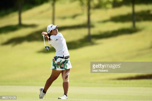 Ai Suzuki of Japan plays her second shot on the 2nd hole during the first round of the Resorttust Ladies at Kansai Golf Club on May 25 2018 in Miki...