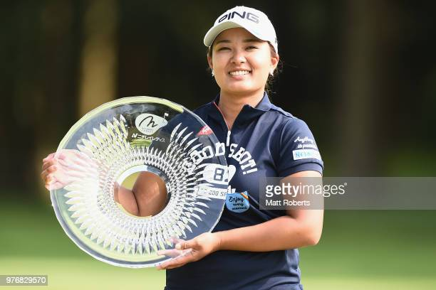 Yumiko Yoshida of Japan smiles during the trophy presentation of the Nichirei Ladies at the Sodegaura Country Club Shinsode Course on June 17 2018 in...