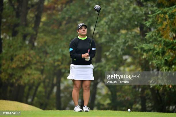 Ai Suzuki of Japan prepares for her tee shot on the 2nd hole during the final round of the TOTO Japan Classic at the Taiheiyo Club Minori Course on...