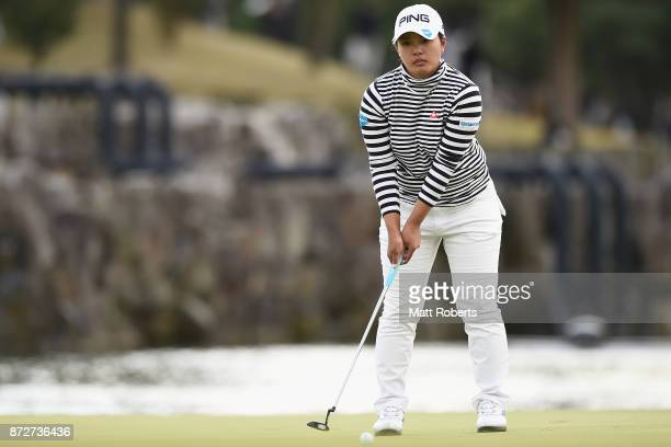 Ai Suzuki of Japan prepares to putt on the 18th green during the second round of the Itoen Ladies Golf Tournament 2017 at the Great Island Club on...