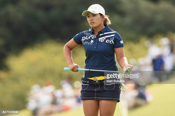 Ai Suzuki of Japan prepares to putt on the first green during the first round of the Munsingwear Ladies Tokai Classic 2017 at the Shin Minami Aichi...