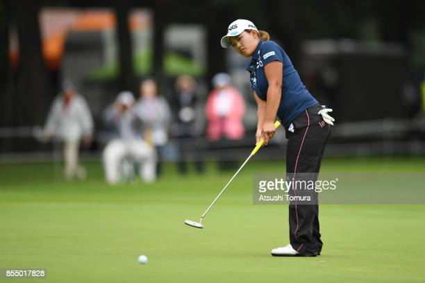 Ai Suzuki of Japan putts on the 10th hole during the first round of Japan Women's Open 2017 at the Abiko Golf Club on September 28 2017 in Abiko...