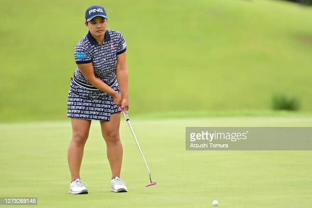 Ai Suzuki of Japan putts on the 18th hole during the first round of the Descente Ladies Tokai Classic at the Shin Minami Aichi Country Club Mihama...