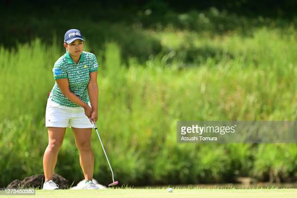 Ai Suzuki of Japan putts on the 9th hole during the second round of the Descente Ladies Tokai Classic at the Shin Minami Aichi Country Club Mihama...
