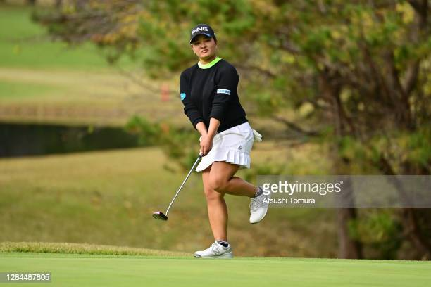 Ai Suzuki of Japan reacts after a putt on the 12th green during the final round of the TOTO Japan Classic at the Taiheiyo Club Minori Course on...
