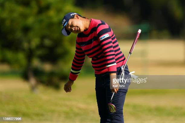 Ai Suzuki of Japan reacts after a putt on the 15th green during the second round of the JLPGA Tour Championship Ricoh Cup at the Miyazaki Country...