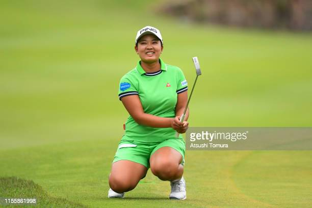 Ai Suzuki of Japan reacts after a putt on the 18th green during the second round of the Ai Miyazato Suntory Ladies Open Golf Tournament at Rokko...