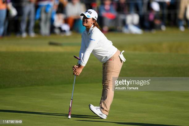 Ai Suzuki of Japan reacts after a putt on the 18th green during the second round of the ItoEn Ladies at Great Island Club on November 16 2019 in...