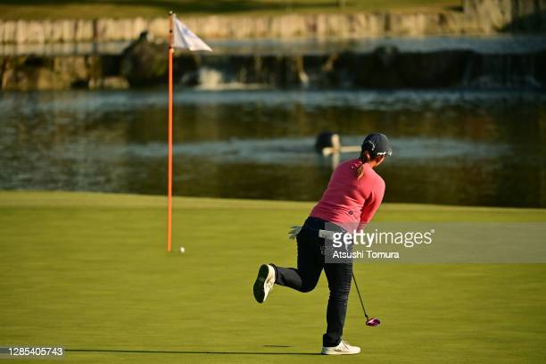 Ai Suzuki of Japan reacts after a putt on the 9th green during the first round of the Ito-En Ladies Golf Tournament at the Great Island Club on...