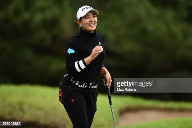 Ai Suzuki of Japan reacts after her putt on the 13th green during the second round of the Nichirei Ladies at the Sodegaura Country Club Shinsode...