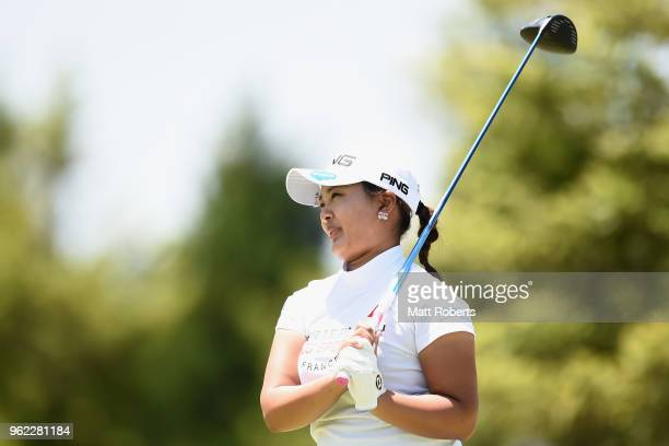 Ai Suzuki of Japan reacts after her tee shot on the 10th hole during the first round of the Resorttust Ladies at Kansai Golf Club on May 25 2018 in...