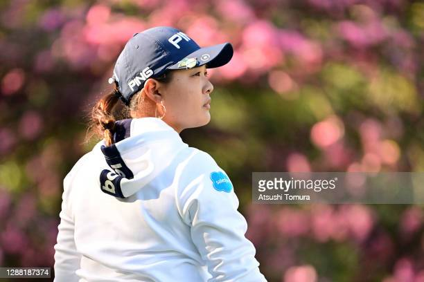Ai Suzuki of Japan reacts after her tee shot on the 2nd hole during the third round of the JLPGA Tour Championship Ricoh Cup at the Miyazaki Country...