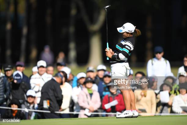 Ai Suzuki of Japan reacts after missing her birdie putt on the 3rd hole during the final round of the TOTO Japan Classics 2017 at the Taiheiyo Club...