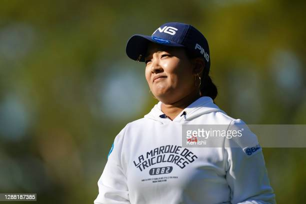 Ai Suzuki of Japan reacts on the 1st green during the third round of the JLPGA Tour Championship Ricoh Cup at the Miyazaki Country Club on November...