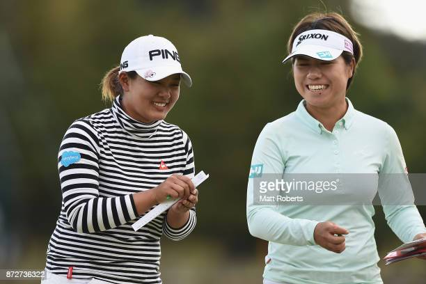 Ai Suzuki of Japan shares a laugh with Eri Okayama of Japan during the second round of the Itoen Ladies Golf Tournament 2017 at the Great Island Club...