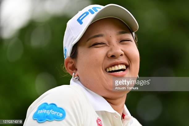 Ai Suzuki of Japan smiles during the practice round ahead of the GOLF5 Ladies Tournament at the GOLF5 Country Mizunami Course on September 03 2020 in...