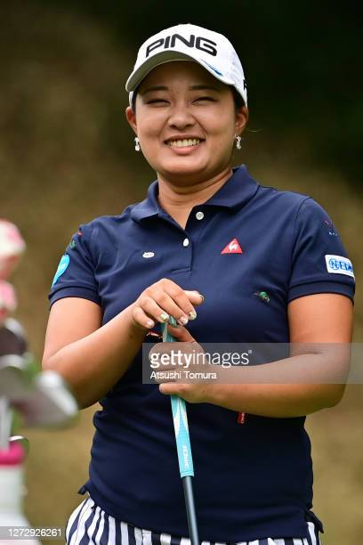Ai Suzuki of Japan smiles during the practice round ahead of the Descente Ladies Tokai Classic at the Shin Minami Aichi Country Club Mihama Course on...