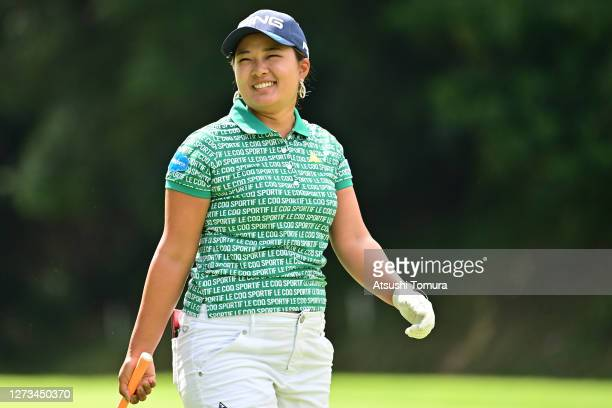 Ai Suzuki of Japan smiles during the second round of the Descente Ladies Tokai Classic at the Shin Minami Aichi Country Club Mihama Course on...