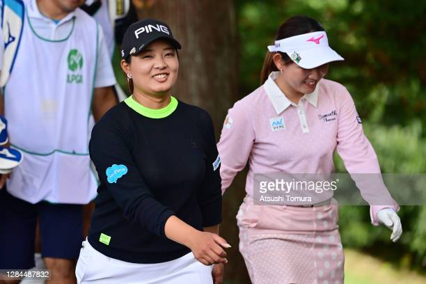 Ai Suzuki of Japan smiles on her way to the 14th tee during the final round of the TOTO Japan Classic at the Taiheiyo Club Minori Course on November...