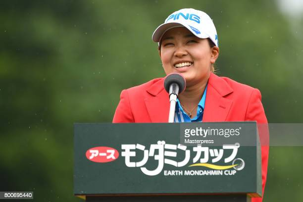 Ai Suzuki of Japan speaks after winning the Earth Mondamin Cup at the Camellia Hills Country Club on June 25 2017 in Sodegaura Japan