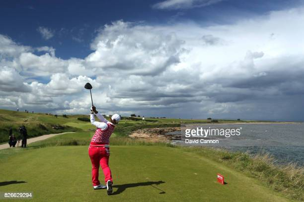 Ai Suzuki of Japan tees off on the 2nd hole during the third round of the Ricoh Women's British Open at Kingsbarns Golf Links on August 5 2017 in...