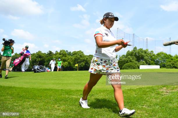 Ai Suzuki of Japan walks during the third round of the Earth Mondamin Cup at the Camellia Hills Country Club on June 24 2017 in Sodegaura Japan