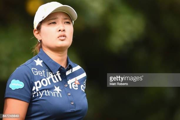Ai Suzuki of Japan watches her tee shot on the 2nd hole during the first round of the Munsingwear Ladies Tokai Classic 2017 at the Shin Minami Aichi...