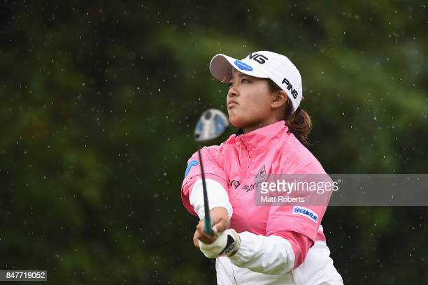 Ai Suzuki of Japan watches her tee shot on the 6th hole during the second round of the Munsingwear Ladies Tokai Classic 2017 at the Shin Minami Aichi...