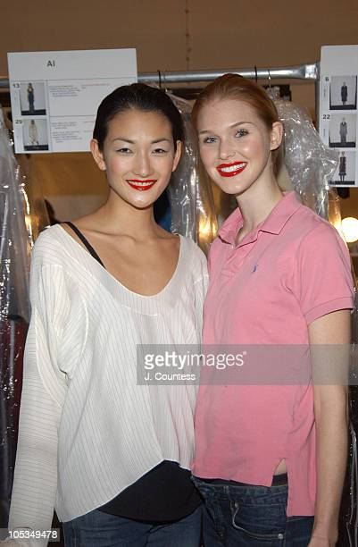 Ai Tominaga and Adair Howell during Olympus Fashion Week Fall 2004 Badgley Mischka Front Row and Backstage at The Promenade at Bryant Park in New...