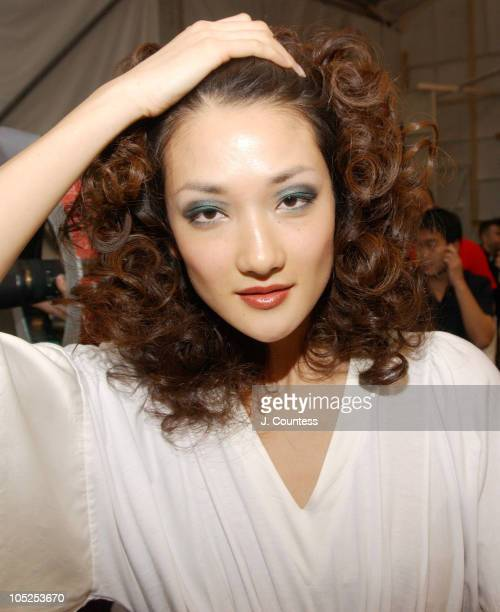 Ai Tominaga during Olympus Fashion Week Fall 2004 Y Kei Front Row and Backstage at The Promenade at Bryant Park in New York City New York United...