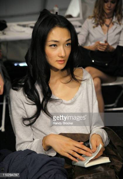 Ai Tominaga during Olympus Fashion Week Spring 2007 Atil Kutoglu Front Row and Backstage at The Promenade Bryant Park in New York City New York...