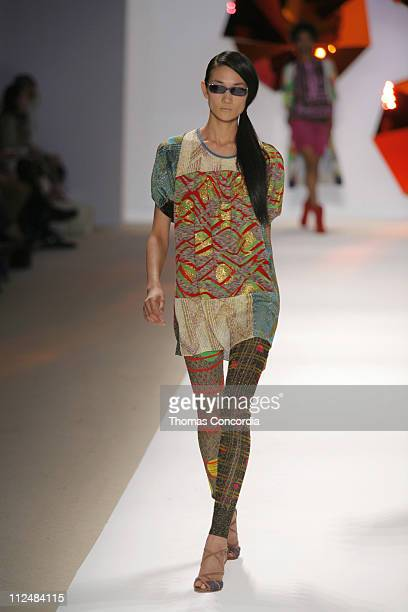 Ai Tominaga wearing Custo Barcelona Spring 2007 during Olympus Fashion Week Spring 2007 Custo Barcelona Runway at The Promenade Bryant Park in New...