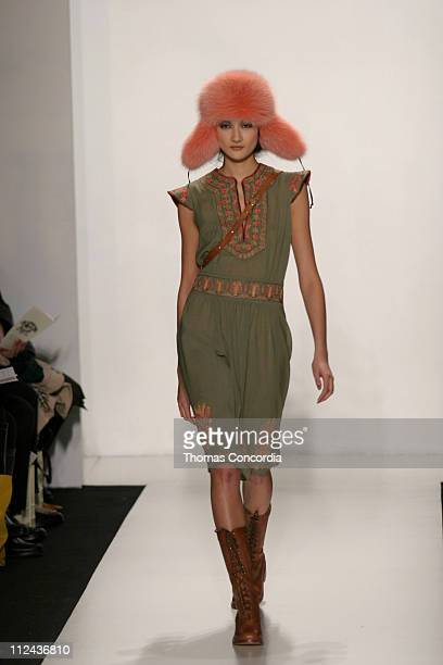 Ai Tominaga wearing James Coviello Fall 2004 during Olympus Fashion Week Fall 2004 James Coviello Runway at The Atelier at Bryant Park in New York...