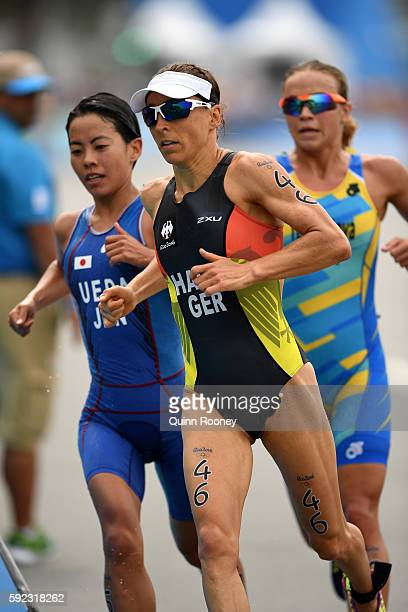 Ai Ueda of Japan Yuliya Yelistratova of Ukraine and Anne Haug of Germany run during the Women's Triathlon on Day 15 of the Rio 2016 Olympic Games at...