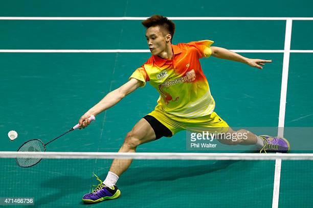 Ai Wei Jian of Malaysia plays a return against Kaizar Bobby Alexander of Indonesia during the 2015 Badminton Open at the North Shore Events Centre on...