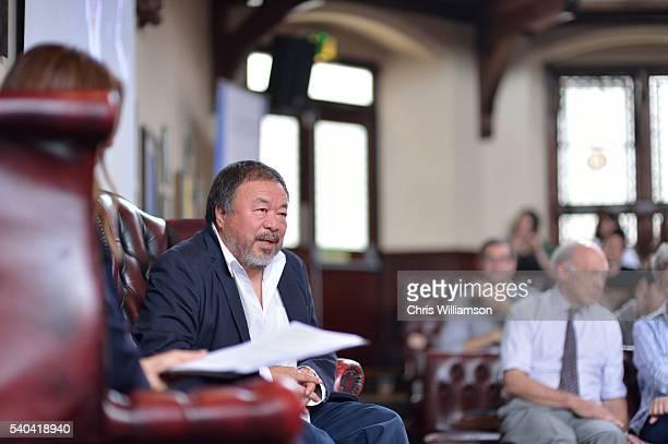 Ai Weiwei addresses Cambridge Union at The Cambridge Union on June 15 2016 in Cambridge Cambridgeshire England