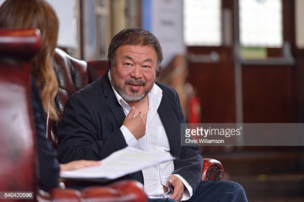 Ai Weiwei addresses Cambridge Union at The Cambridge Union on June 15 2016 in Cambridge Cambridgeshire