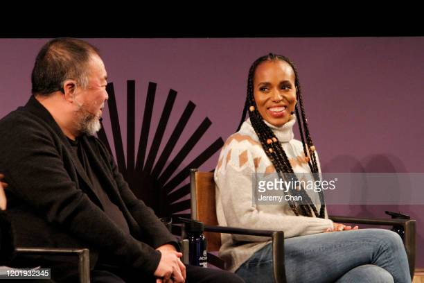 Ai Weiwei and Kerry Washington speak at the 2020 Sundance Film Festival Power Of Story Just Art Panel at Egyptian Theatre on January 25 2020 in Park...