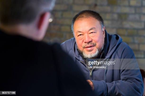 Ai Weiwei concept Artist in his studio posing during a interview in Berlin Prenzlauer Berg on September 19 2017 in Berlin Germany