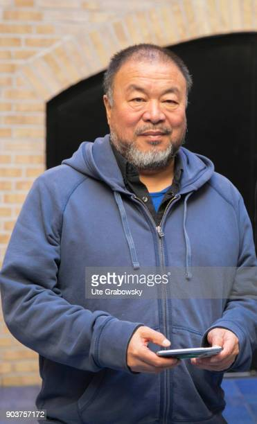 Ai Weiwei concept Artist in his studio posing during a portrait shooting in Berlin Prenzlauer Berg on September 19 2017 in Berlin Germany
