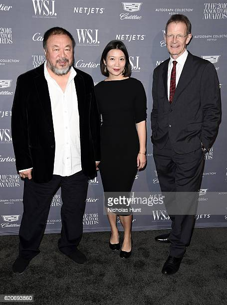 Ai Weiwei Lu Qing and Sir Nicholas Serota attend the WSJ Magazine 2016 Innovator Awards at Museum of Modern Art on November 2 2016 in New York City
