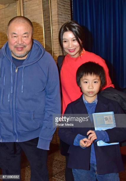 Ai Weiwei Wang Fen and Ai Lao during the 'Human Flow' premiere at Kino International on November 7 2017 in Berlin Germany
