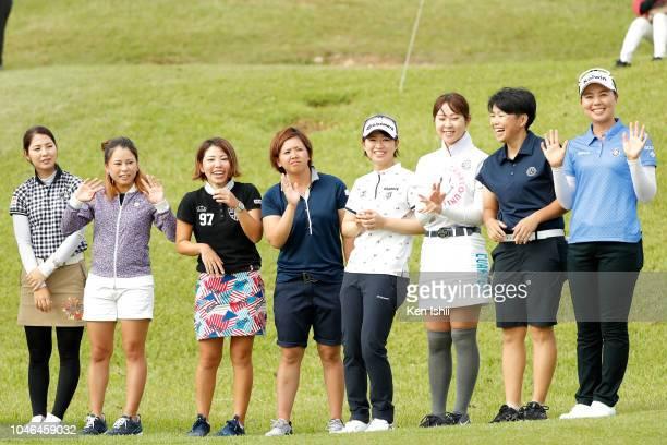 Ai Yamazato, Minami Ohshiro, Miki Yonaha, Nana Yamashiro, Kakazu Kokona, Kana Shibata, Reiko Fujii and Miki Uehara of Japan attend the award ceremony...