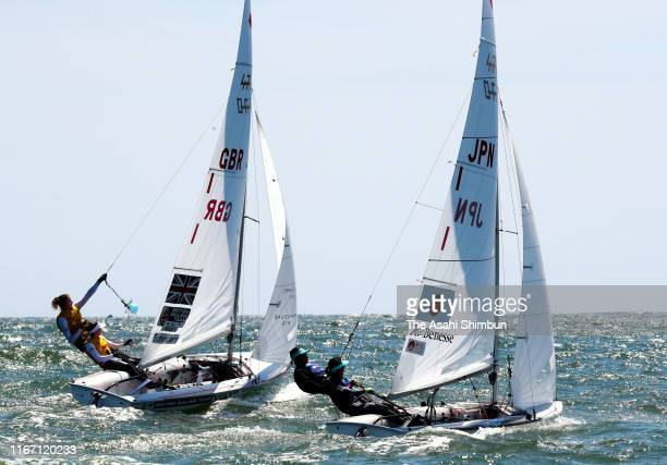 Ai Yoshida and Miho Yoshioka of Japan and Hannah Mills and Eilidh McIntyre of Great Britain compete in the Women's event on day eight of the 470...